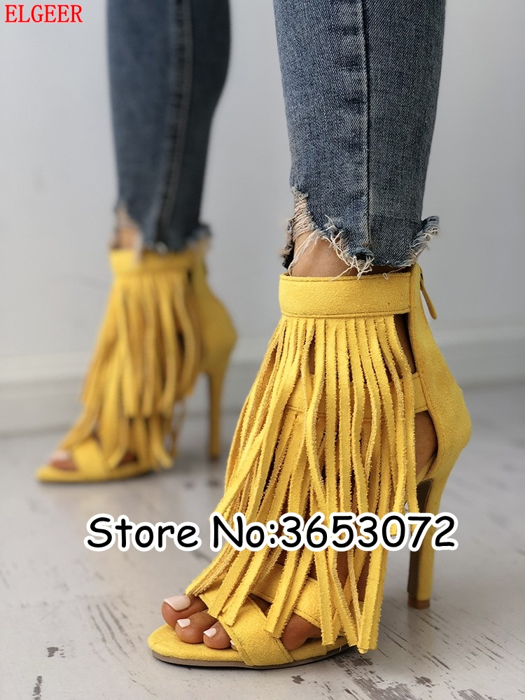 fbd38af5b3c5 Yellow Suede Tassels Multi-Strap Thin Heeled Sandals Open Toe Evening Party  Dress Fringed Women