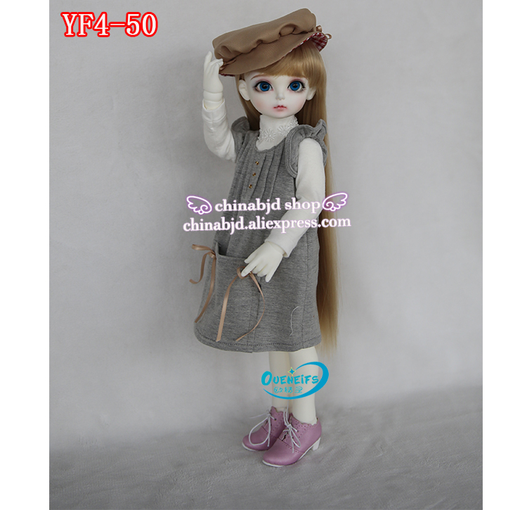 OUENEIFS free shipping girl long skirt  dress White hair a waist send cap 1/4 bjd sd doll clothes have not wig or doll  YF4-48