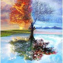 5842 четыре сезона дерево пейзаж-краски по номерам наборы для взрослых DIY