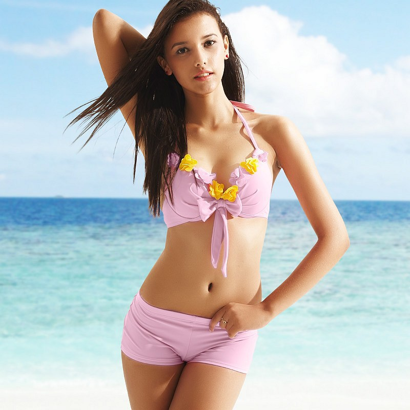 2013 New Arrival VANCL Women's Swimwear Fashion Lovely Sexy Nicol Flower Halter Applique Bikini Set Pink FREE SHIPPING