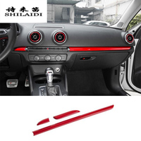Car Styling Center Console Dashboard Trim Car Door Decoration Cover Sticker Trim Carbon Fiber For Audi A3 8V S3 Auto Accessories