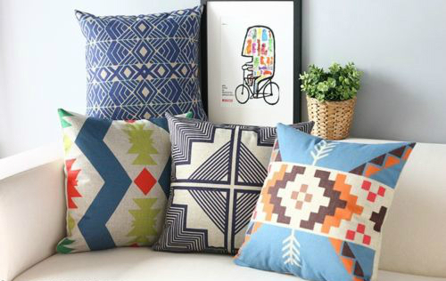 US $12.31 12% OFF|Aztec Geometric Cushion Cover Japanese Japan Style Linen  Throw Pillow Case Modern Decorative Cushions Cases Home Sofa Decor 18
