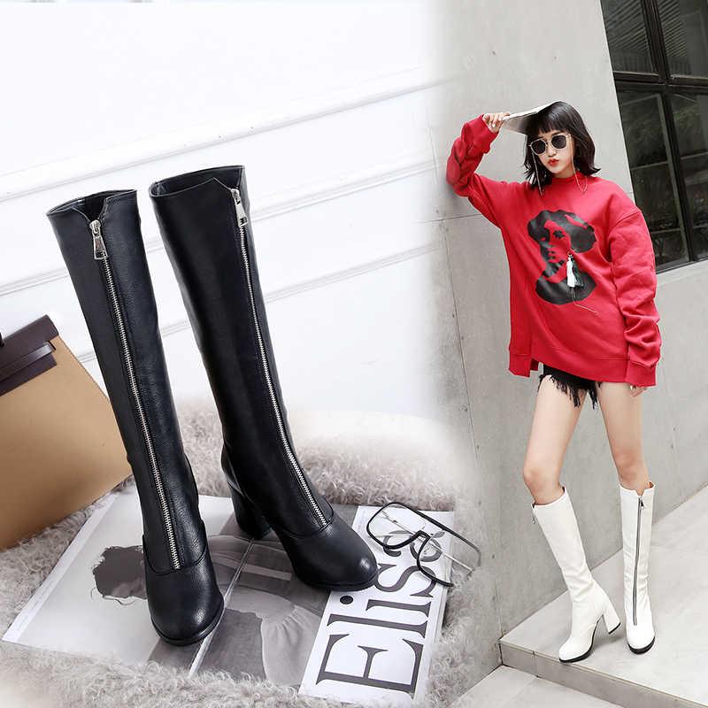 Botas Chelsea moda Otoño 2018 nuevas botas de tacón bajo con cremallera de  punta redonda botas 9d2fef88217d