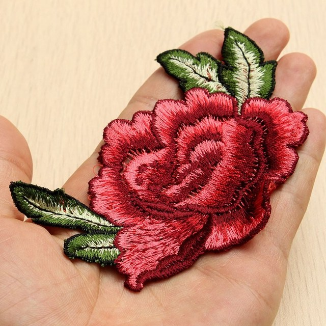 Romantic 3D Rose Peony Flower Patch Embroidered Garment Appliques Sew On Patches For Clothes Cheongsam Wedding Dress Accessory