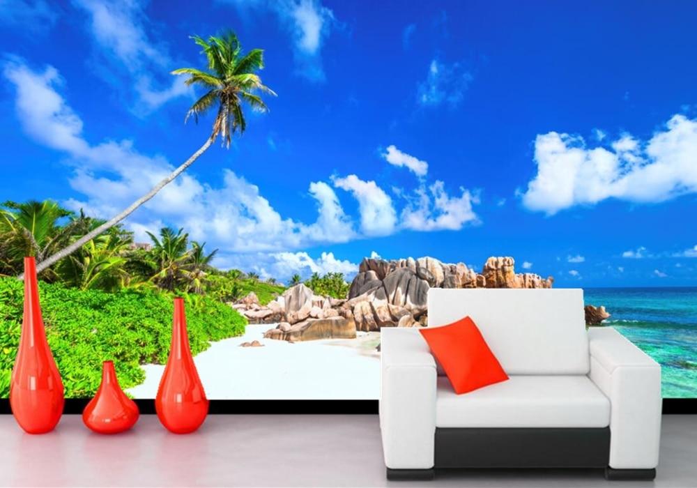 Scenery Sky Tropics Coast Sea Beach Nature photo wallpaper,living room TV wall bedroom KTV restaurant bar wall 3d wallpaper