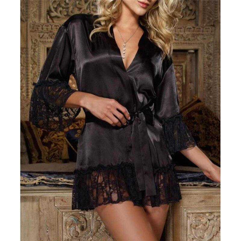 Sexy Pajamas Lingerie Satin Lace Black Kimono Intimate Sleepwear Robe Women Night Gown Erotic Underwear