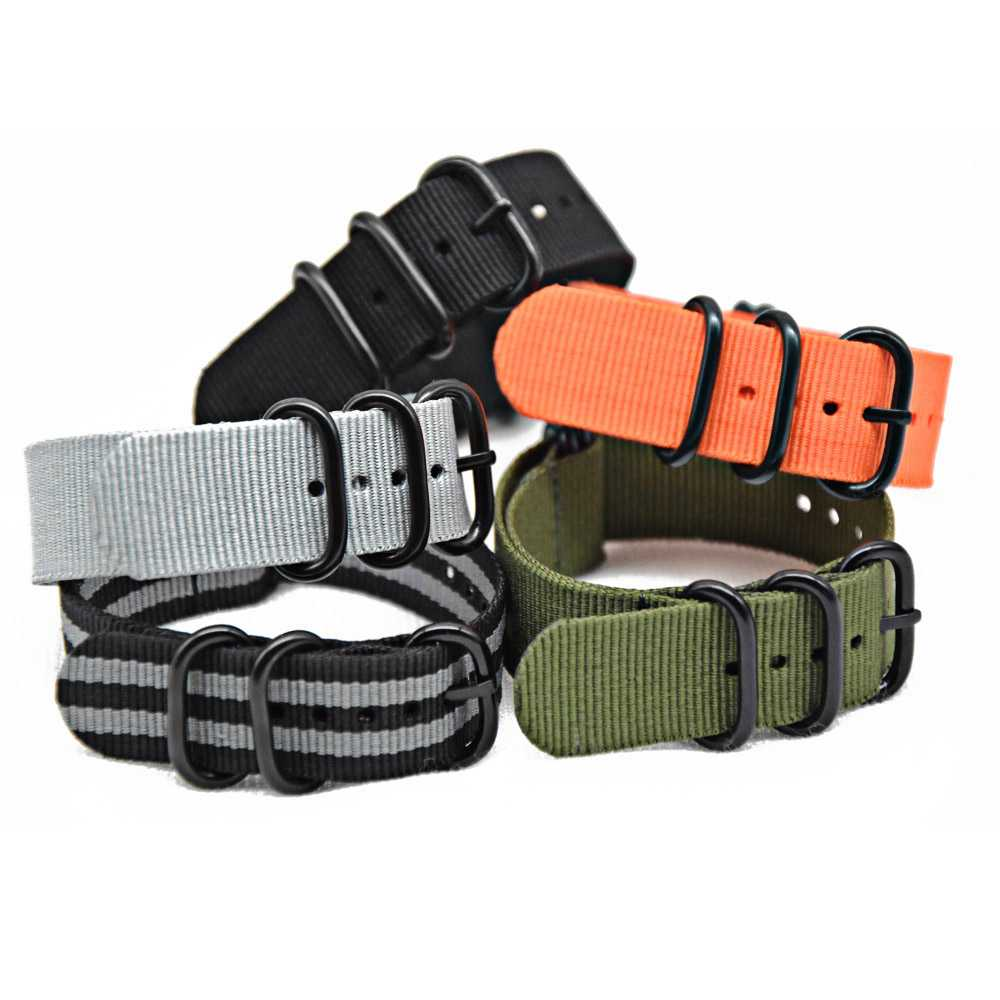 Nylon strap 20mm 22mm 24mm Nato Watch Straps Black/Orange/Green Nylon Fabric Watchbands Stainless Steel Buckles Claps Durable survival nylon bracelet with stainless steel buckles green