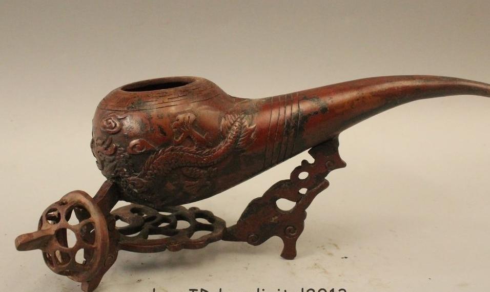 Estatua incensario con quemador de incienso dragón pipa de tabaco de bronce chino de 5 pulgadas marcada en China - 4