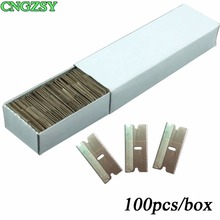 CNGZSY 100pcs Metal Blades Safety Razor Scraper Glue Knife Glass Cleaner Replacement Carbon Steel Blade Car Tinting Tools E13