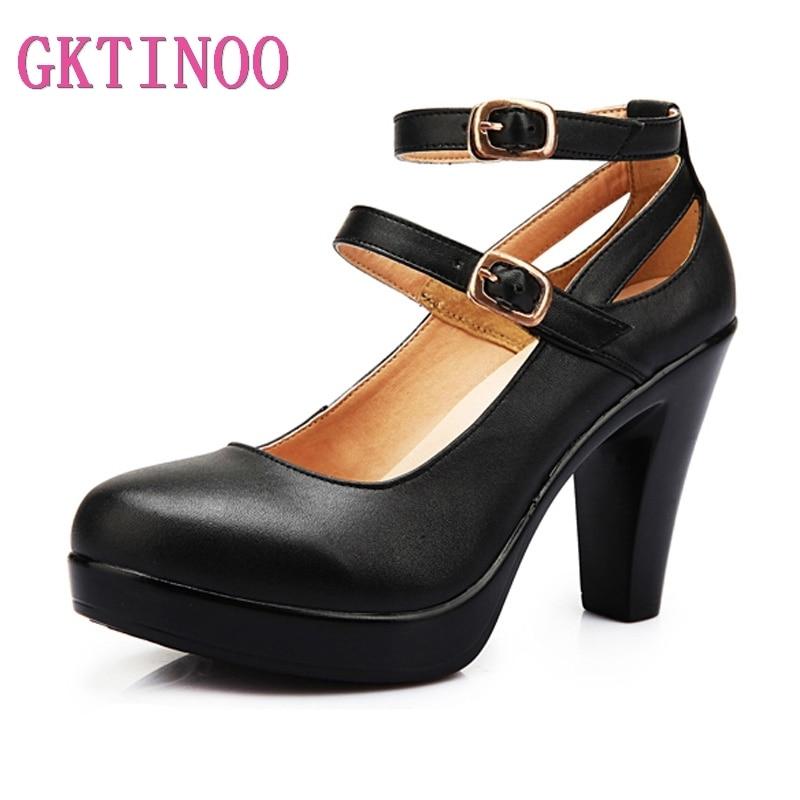 b1e982b32 جلد طبيعي عالية الكعب الإناث OL مريحة النساء السوداوات أحذية عمل المرأة  مضخات زائد حجم 34-42