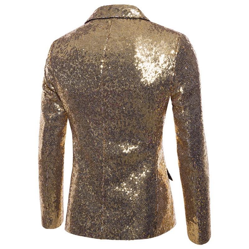 Fashion Men Shiny Blazers Gold Sequin Glitter Suit Male Jackets Blazers 1