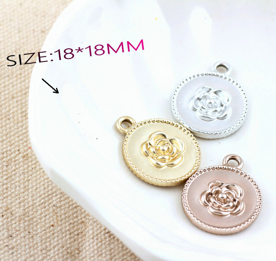 Free Shipping Round Alloy DIY Jewelry Charms Dull Silver Gold Coffee Colors Metal Rose F ...