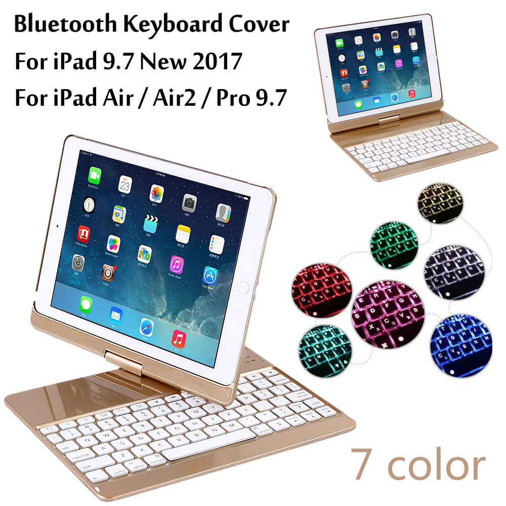 New 2017 For iPad 9.7 7 Colors Backlit Light Wireless Bluetooth Keyboard Case Cover For iPad 5 / 6 / Air / Air 2 / Pro 9.7 +Gift wireless bluetooth keyboard case cover for ipad 9 7 new 2017 a1822 abs plastic 7 colors backlit light keyboard for ipad pro 9 7