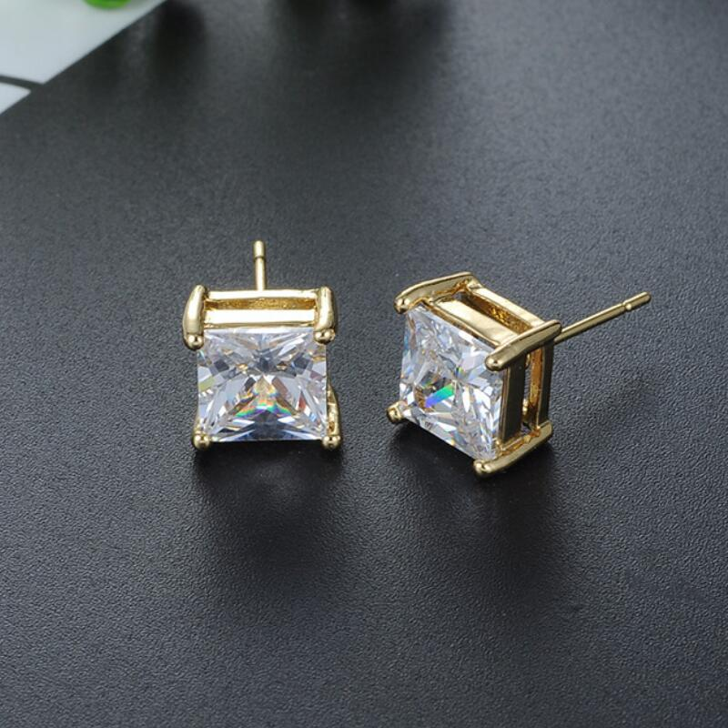 Tassina New Arrival Gold Colors 6mm width 4 Claw Crystal Earrings Square Round Man Jewelry For Women Party Stud Earrings