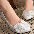 Promotion!!! White lace flower wedding shoe, delicate handmade different heel available bridal shoes for brides XNA 021