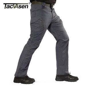 Image 3 - Tacvasen calças táticas dos homens da marinha multi bolsos rip stop carga calças de trabalho militar combate algodão calças airsoft exército caminhada