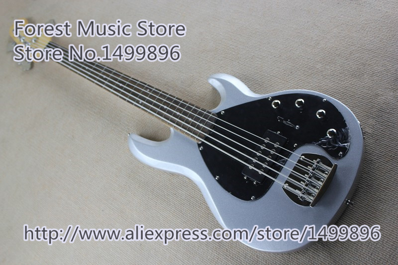 New Arrival Chinese 5 String Musicman Electric Bass Guitars In Metallic Silver For Sale