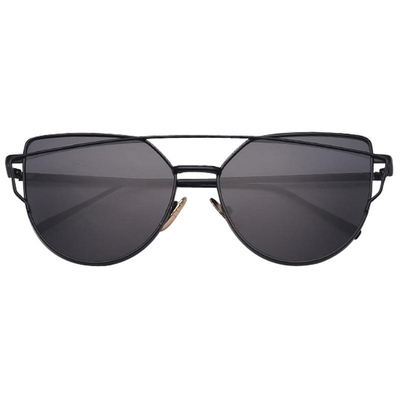 MINAKOLIFE  Vintage Lady Rose Gold Cat Eye Sunglasses Men Women Brand Design Twin-Beams Optical Eyeglasses Frame Men Sun Glasses