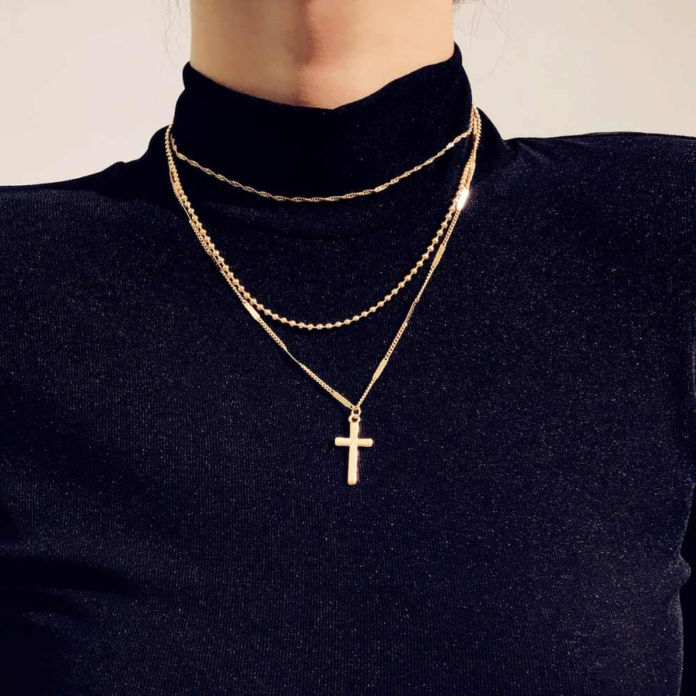 DIEZI Vintage Cross Pendant Necklace For Women Jewelry Boho Silver Gold Color Choker Chain Neckless For Girls Jewellery