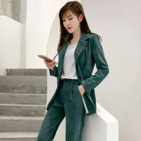 Retro corduroy suit suit women's fashion slim single breasted small suit high waist pencil pants solid color two piece TB190213