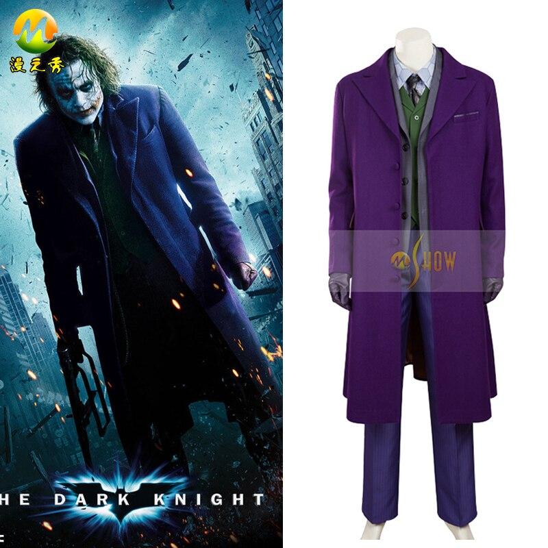 Movie Hero Batman The Dark Knight Joker Costume Batman Joker Suit Outfits Classic Halloween Cosplay  Costume Custom Made