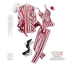 Летний пижамный комплект в полоску, ночное белье из вискозы, пижама с длинными рукавами, комплект из 3 предметов, кофта с v-вырезом для женщин