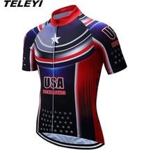 Популярные Красные США лето Велоспорт Джерси Для мужчин велосипед трикотажный топ Ropa Ciclismo Одежда MTB велосипеда короткий рукав Майо Рубашки для мальчиков дышащие