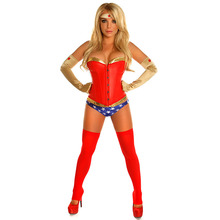 Halloween Costumes For Adults Red Faux Leather/Gold PVC Wonder Woman Corset Costume with Thong Cosplay Sexy Superhero Superwoman