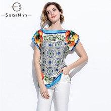 SEQINYY 여름 탑 오렌지 과일 인쇄 블루 도자기 2018 패션 활주로 짧은 소매 느슨한 블라우스