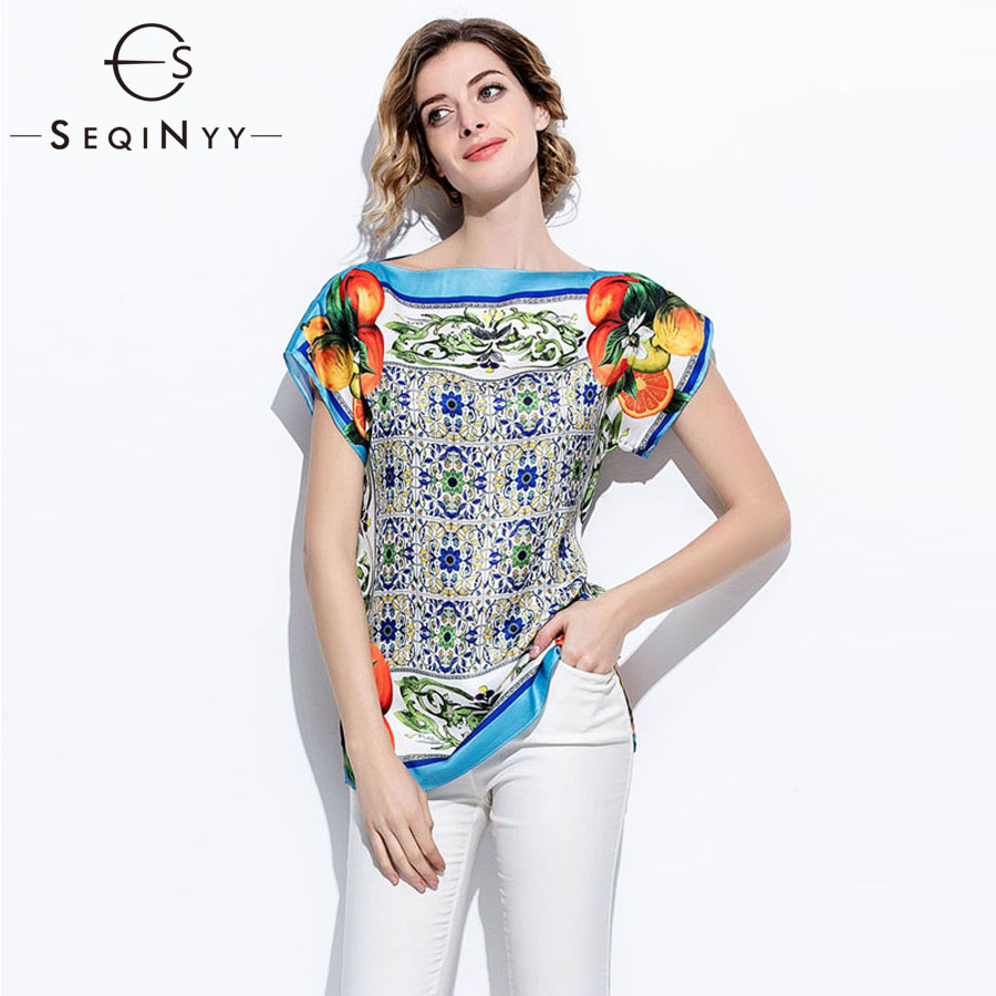 SEQINYY Summer Top Orange Fruits Printed Blue Porcelain 2018 Fashion Runway Short Sleeve Loose Blouse