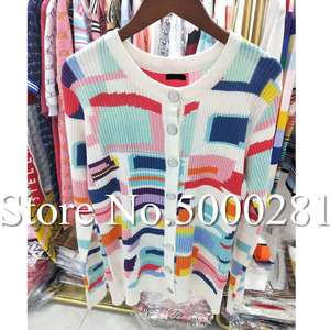 New fall knitted cardigan sweater for women o-neck long sleeve patchwork geometric pattern single breasted sweaters jacket coat