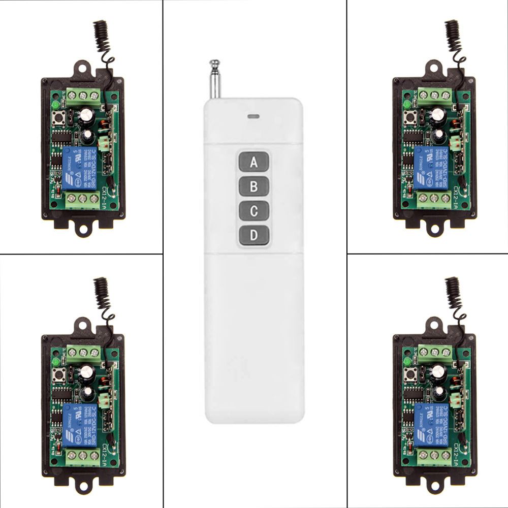 цена на 3000m DIY DC 9V 12V 24V 1 CH 1CH RF Wireless Remote Control Switch System,315/433 MHz ,4CH Transmitter + Receiver,Momentary