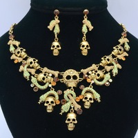 Green Real Austrian Rhinestone Crystals High Quality Skull And Snake Necklace Earring Women Jewelry Sets Clearance