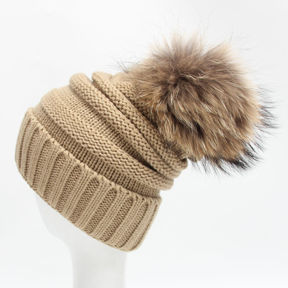 Stretch Knitted Wool Raccoon Fur Pompon Hats Female Winter Braid Ladies Cap Headgear Women   Skullies     Beanies   Apparel Accessories