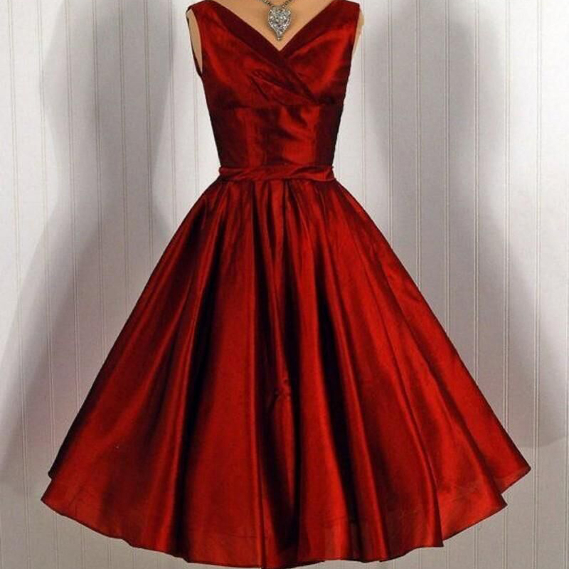 2016 New Arrival Women   Prom     Dresses   Burgundy Sleeveless V-neck 1950s Retro Formal Party Gowns Simple Special Occasion Vestidos