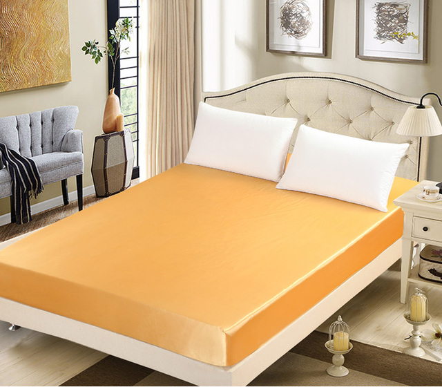 Luxury Gold Silk Bed Sheet Satin Fitted Sheet Twin Full Queen Size Mattress  Cover 120*