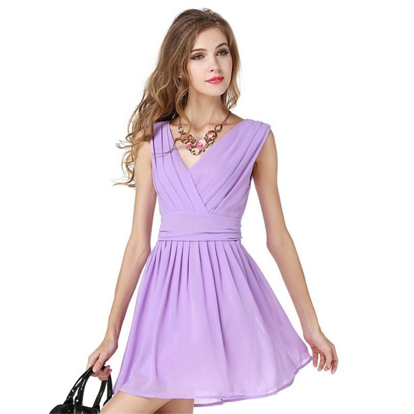New Summer V Collar Dresses Party Vestidos Elegant Women Sleeveless ...