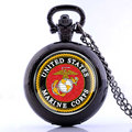 Antique Black US Marine Corps Pendant Quartz Fob Pocket Watch With Chain Men Vintage Steampunk Necklace Gift Jewelry Accessory