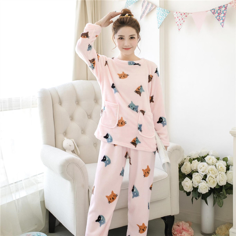 New Winter Women Cartoon Flannel Cashmere Nightwear Home Leisure Wear Coral Fleece Soft Thermal Comfortable Sleeping Pajama Sets