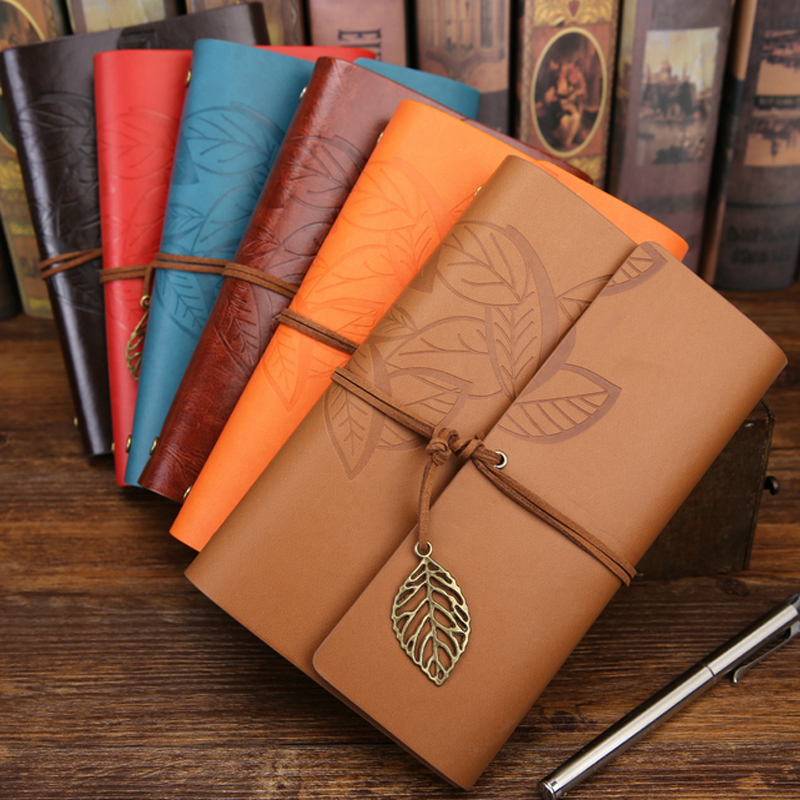 MEIKENG 1PC 75 Sheets Vintga Notebook Imitation Leather Retro Notepad Office School Stationery Gifts meikeng 1pc 75 sheets vintage loose leaf notebook memo pad notepad school supplies office supplies high end gift
