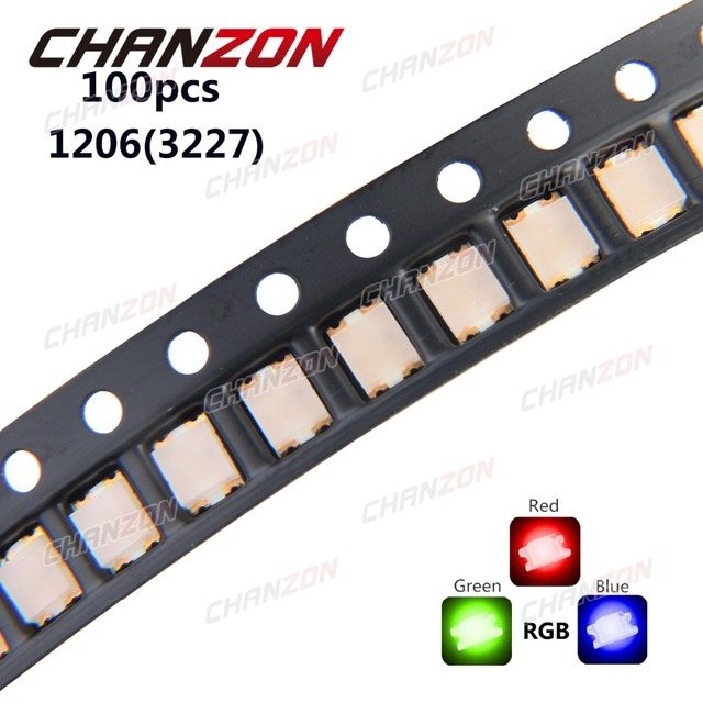 100pcs 1206 (3227) RGB Common Anode SMD LED Bead Tricolor Red Green Blue 20mA Ultra Bright Chip Light Emitting Diode Lamp SMT