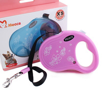 2016 New Automatic Pet Dog Leashes Retractable Blue Pink Dog Collar Leash Print Retractable Dog Chain