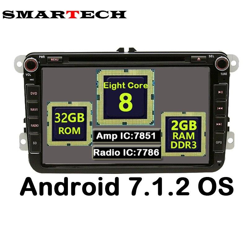 SMARTECH 8 Core 2 Din Android 7.1.2 VW Stereo Radio 2G RAM 32G ROM 2Din Car DVD Player For VW Skoda POLO GOLF PASSAT CC JETTA