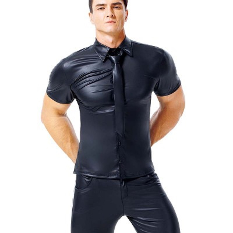 Mens Patent Leather Tight Short Sleeves Shirts Plus Size Short-Sleeved Casual Shirts With Lapel Club Gay Role-Playing Costumes(China)