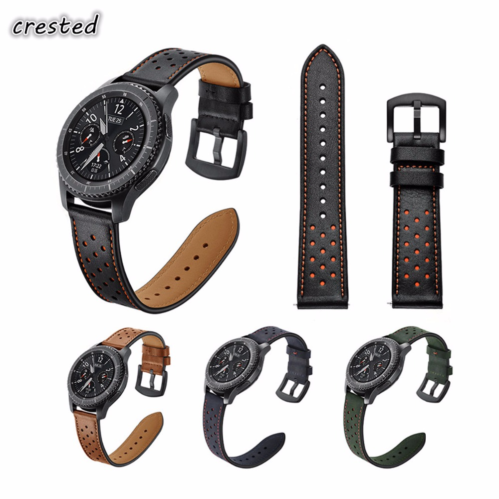 CRESTED 22mm Retro Genuine Leather Strap for Samsung Gear S3 Watch Band for Gear S3 Classic/ Frontier Metal Buckle Wristband excellent quality new genuine leather watch band strap for samsung galaxy gear s2 classic sm r732