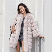 Winter Real Fur Coat Women Long Sleeve Solid Color Fox
