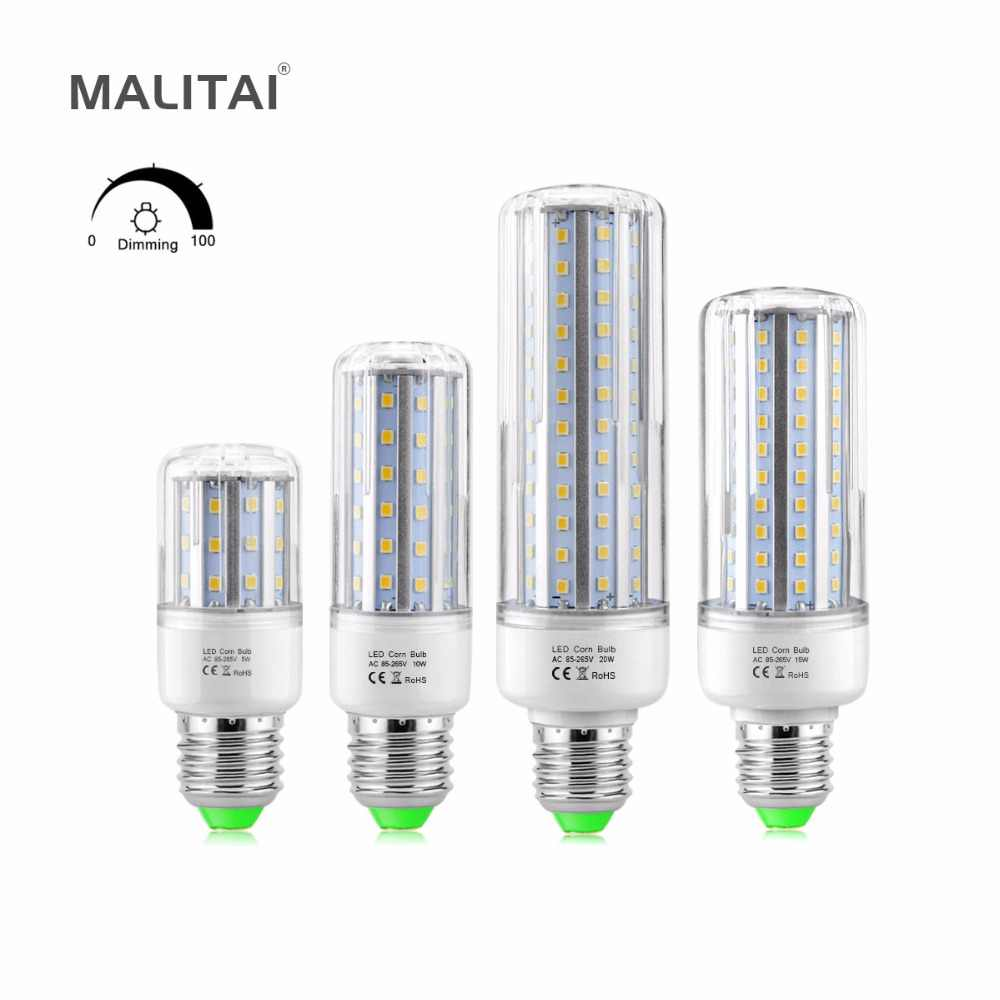 MALITAI SCR Dimming LED Corn lamp light Bulb E27 110V 220V Adjustable LED Driver Dimmable 5W 10W 15W 20W Aluminum No Flicker