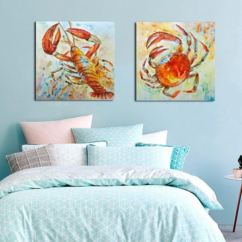 2 panneau photos peint à la main abstraite Animal peinture à l'huile sur toile dessin animé homard et crabe peintures moderne décor à la maison mur Art