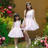 Pink Floral Mother Daughter Dresses 2016 New Summer Dresses Girls Cute Cotton Sleeveless Dress Children Family