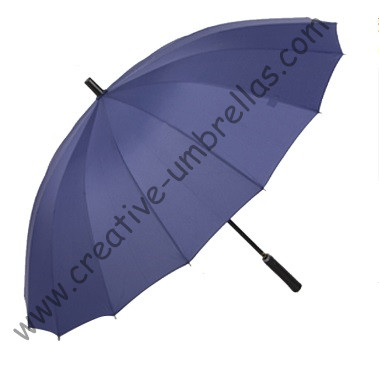 Parapluies de golf bleu en métal droit de Gent's business, arbre en métal noir et nervures en métal, ouverture automatique, coupe-vent, poignée en cuir droite